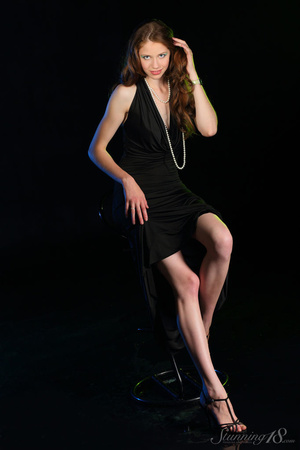 Brunette in black gown reaveal milky whi - XXX Dessert - Picture 4