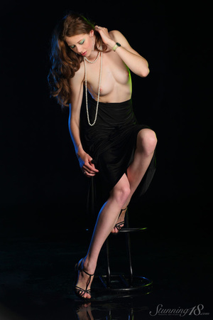 Brunette in black gown reaveal milky whi - XXX Dessert - Picture 5