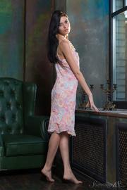 brunette pink floral gown