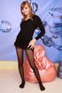 brunette black dressand stockings