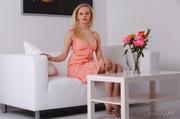 blonde peach dress shows