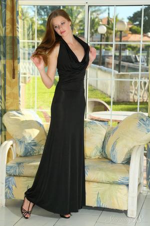 Alluring lady strips her black dress on  - XXX Dessert - Picture 1