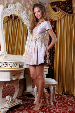 Young brunette pulls off her little dres - XXX Dessert - Picture 1