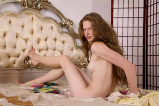 beautiful slim girl plays