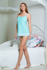 brunette blue night gown