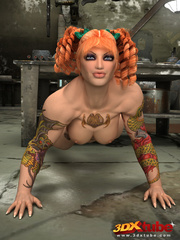 Tattooed ginger girl lies on the floor naked to show - Picture 2