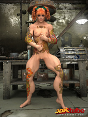 Tattooed ginger girl lies on the floor naked to show - Picture 3