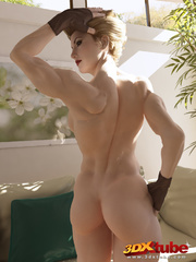 Tattooed ginger girl lies on the floor naked to show - Picture 8