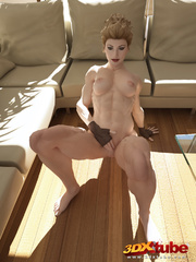 Tattooed ginger girl lies on the floor naked to show - Picture 9