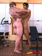 Muscular babe lies on bench press as her pussy gets - Picture 6