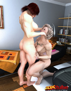 Two ripped girls lick each other's parts in a room.