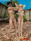 Two hot shemales get naked outside and tease their bodies together.