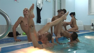 babe, group sex, pool, swingers