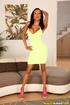 busty ebony yellow dress