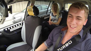 lustful taxi-driver offered blonde