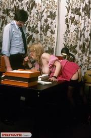 hot secretary pink blouse