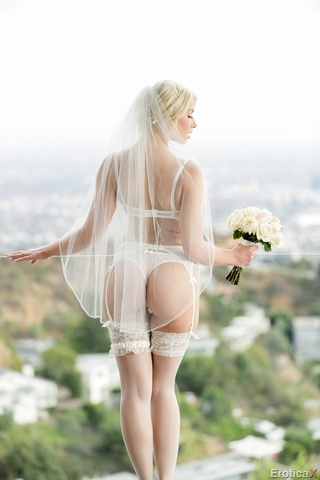 elegant blonde brides white