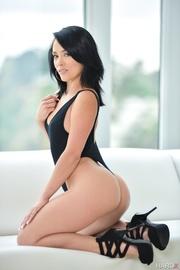 teasing brunette black tight