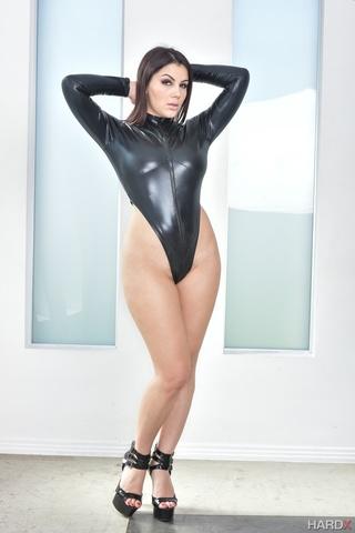 bewitching brunette wearing black