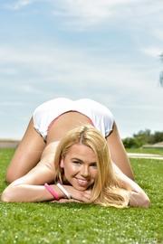 sexy blonde sports attire