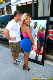 blonde babe pink-blue dress