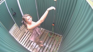Curvy tattooed brunette takes off her bikini to shower before leaving - XXXonXXX - Pic 4