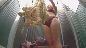 Curvy tattooed brunette takes off her bikini to shower before leaving - XXXonXXX - Pic 7