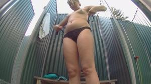 Curvy inked blondie with small tits takes off her bikini to shower - XXXonXXX - Pic 7