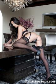 hot brunette black lingerie