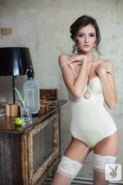fair brunette white bodysuit