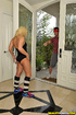 Blonde tart's dark, hairy pussy is hammered by her personal trainer.