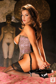 brunette model bends over