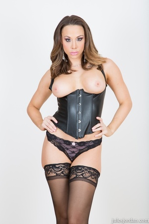 Brunette slut in black leather lingerie, - XXX Dessert - Picture 1