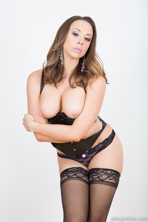 Brunette slut in black leather lingerie, - XXX Dessert - Picture 2