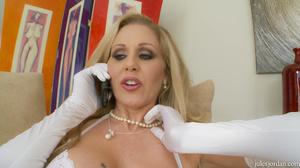 Big boobs blonde MILF in white lingerie  - XXX Dessert - Picture 1