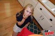 blonde teen white skirt