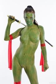 wild brunette covered green