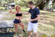 athletic blonde milf meets