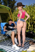 Wayward MILF in a pink top and denim bottoms gets naked to boink at campground,
