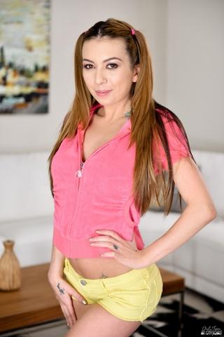 tattooed ponytail brunette pink