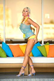 blue-eyed silver-blonde slut wearing