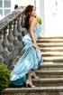 mature brunette blue gown