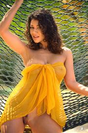 curly haired brunette hammock