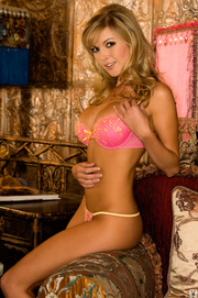 beautiful blond pink lingerie