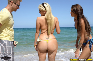 blonde babe yellow bikini