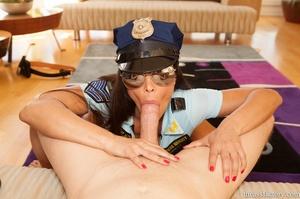 Wonderful brunette in a sexy police offi - XXX Dessert - Picture 6