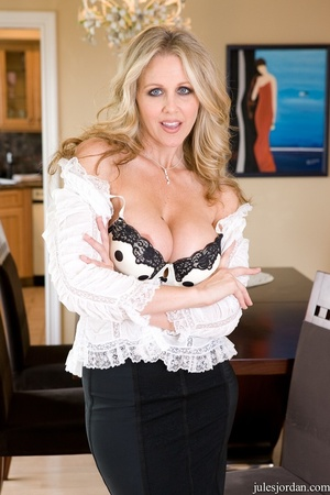 Charming blonde in a white shirt and bla - XXX Dessert - Picture 2