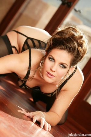 Pretty brunette wearing a black stripy l - XXX Dessert - Picture 5