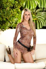 blonde model leopard high