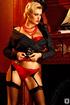 Cigar smoking blonde model in little red panties and black stockings